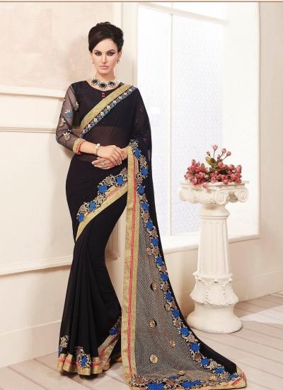 party-wear-Black2-color-saree