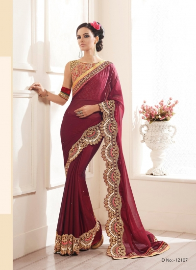 Party-wear-Wine-color-saree
