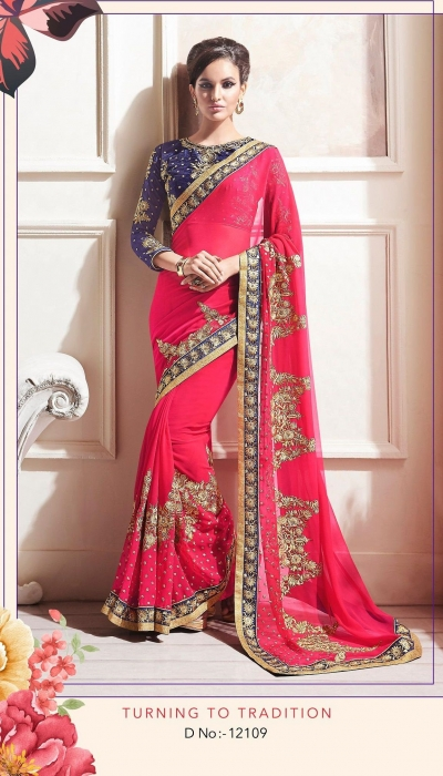 Party-wear-Tulip-Red-color-saree