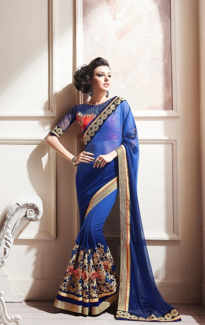Party-wear-Ink-Blue-color-saree