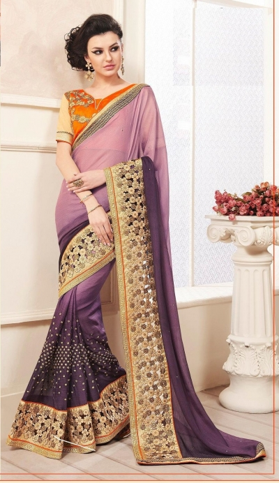 Party-wear-Lavender-Purple-color-saree