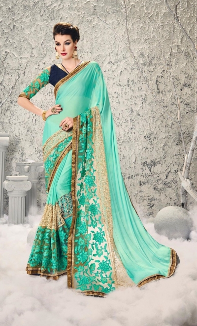 Party-wear-Seagreen-Gold-color-saree