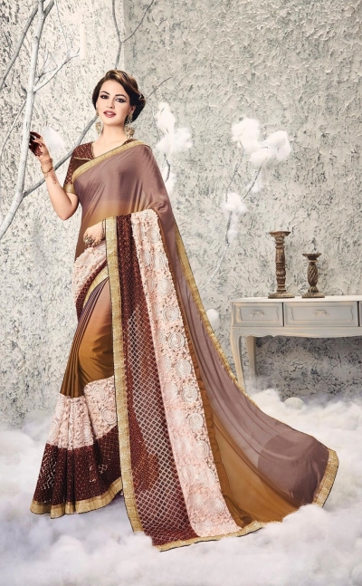 Party-wear-brown-2-color-saree