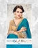 Party-wear-turquoise-Blue-Gold-color-saree