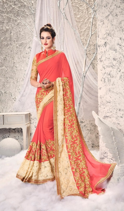 Party-wear-Peach-4-color-saree