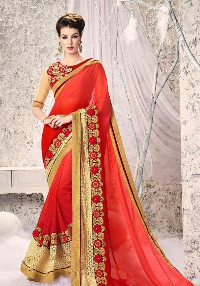 Party-wear-Tomato-Red-Gold-color-saree