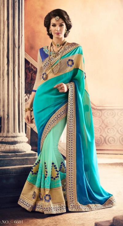 Party-wear-SeaGreen-Blue-color-saree