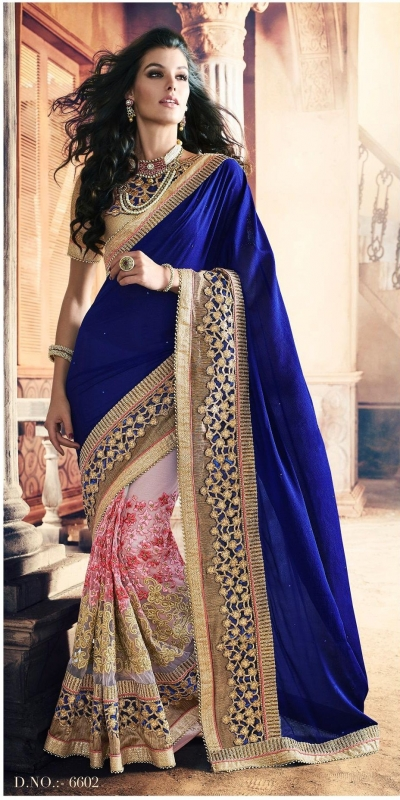Party-wear-Blue-Pink-color-saree