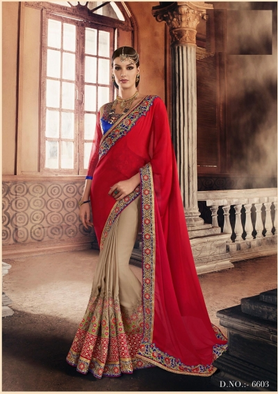 Party-wear-Chikoo-Red-color-saree