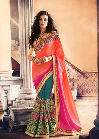 Party-wear-TealBlue-Orange-Pink-color-saree