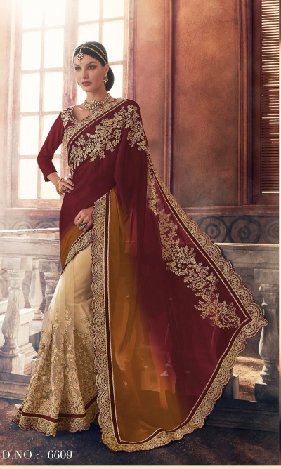 Party-wear-Wine-Chikoo-color-saree