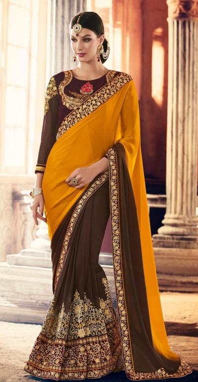 Party-wear-Mustard-Brown-color-saree