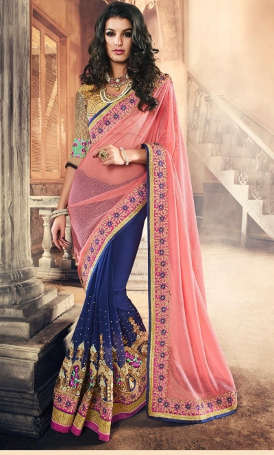 Party-wear-Pink-Blue-color-saree