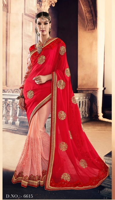 Party-wear-Red-Peach-color-saree