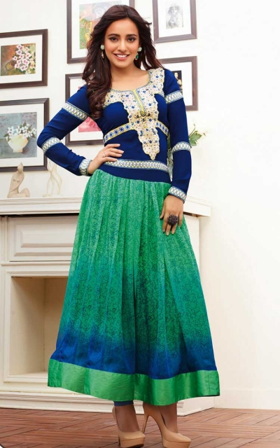 Neha sharma blue & green anarkali