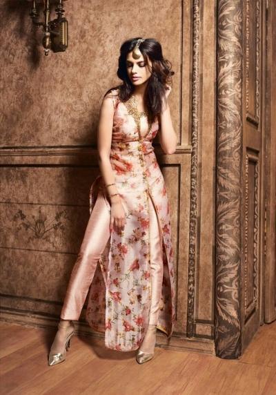 Peach color silk designer party wear suit