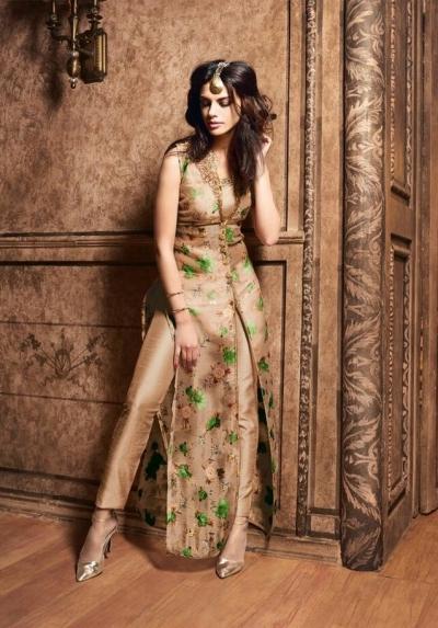 Golden color silk designer party wear suit