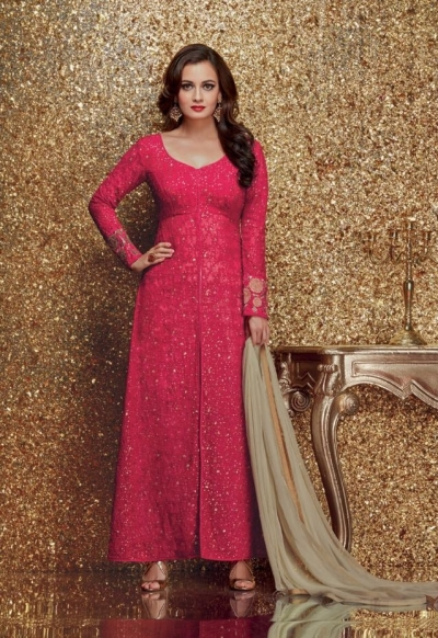 Dia mirza pink color georgette designer party wear suit