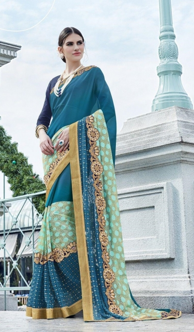 Party-wear-turquoise-blue-color-saree