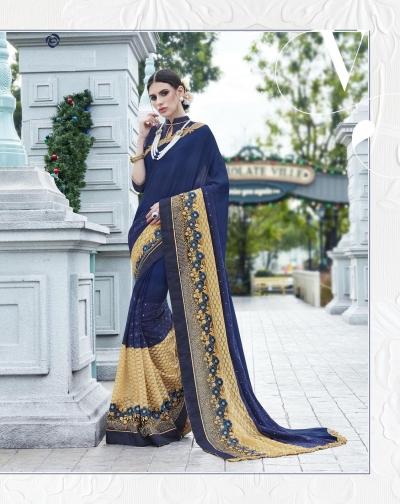 Party-wear-Dark-Blue-color-saree