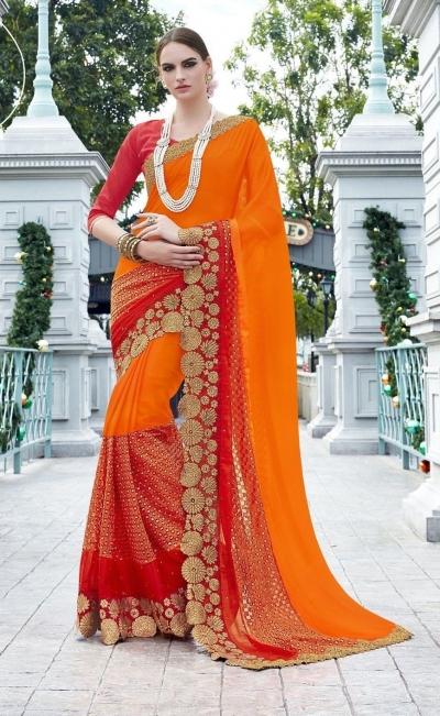Party-wear-Orange-Red-color-saree