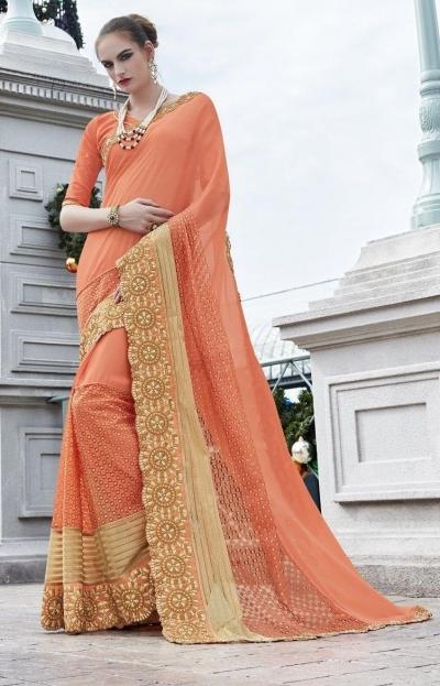 Party-wear-Peach-color-saree