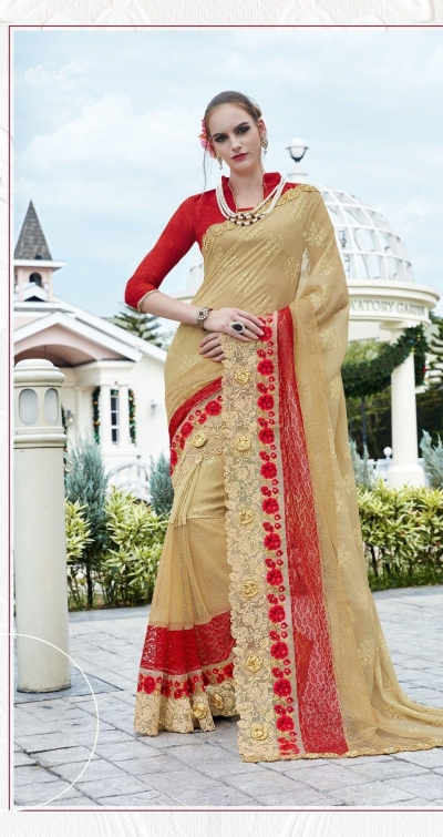 Party-wear-Cream-Red-color-saree