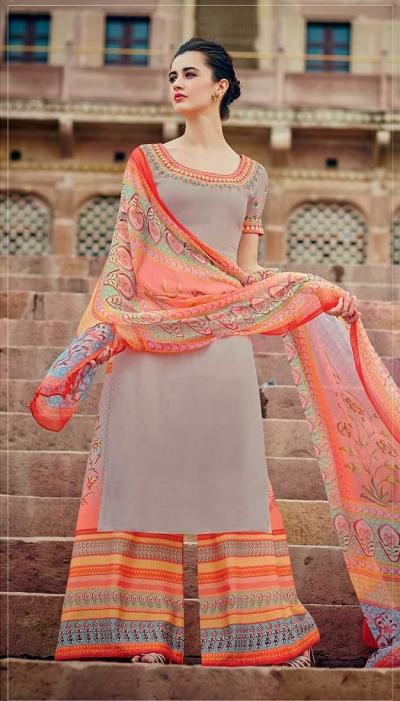 Grey and orange color cotton palazzo salwar kameez
