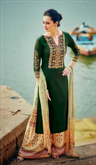 Green and yellow color cotton palazzo salwar kameez