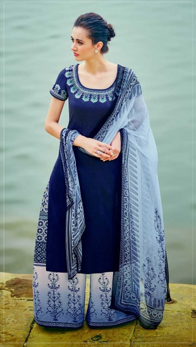 Blue and white color cotton palazzo salwar kameez