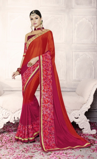 Party-wear-red-maroon-color-saree