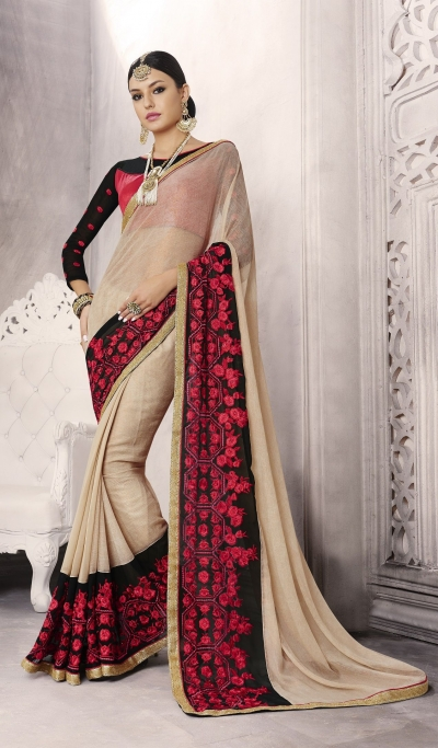 Party-wear-cream-color-saree