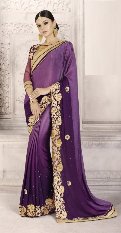 Party-wear-purple-color-saree