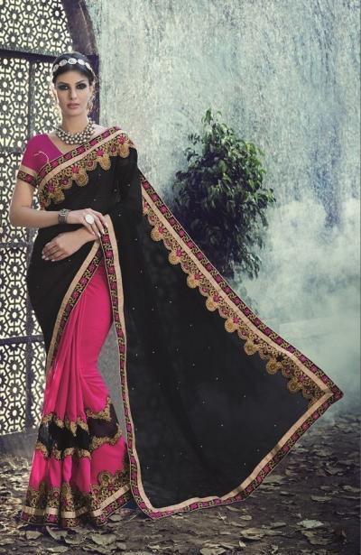 Party-wear-Pink-Black-2-color-saree