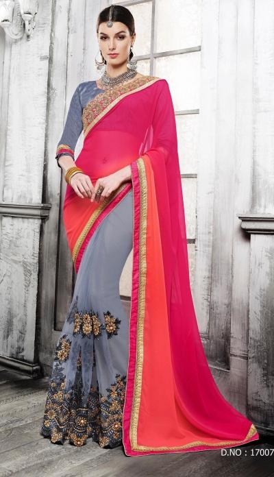 Party-wear-grey-pink-orange-color-saree