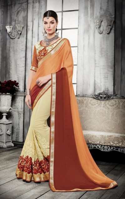Party-wear-orange-yellow-brown-color-saree