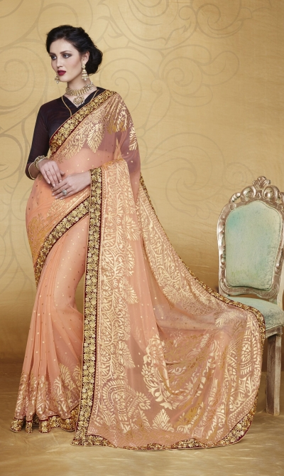 Party-wear-Peach-3-color-saree