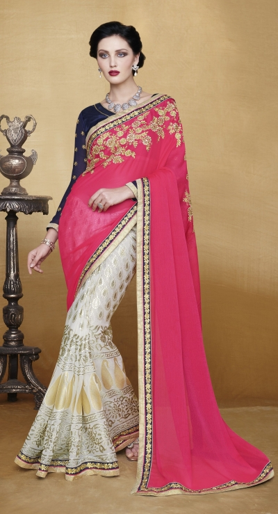 Party-wear-Punch-Pink-White-color-saree