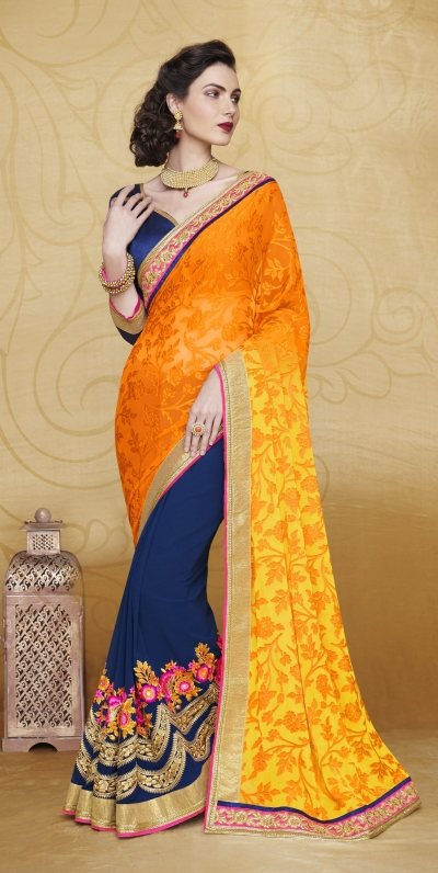 Party-wear-Orange-blue-color-saree