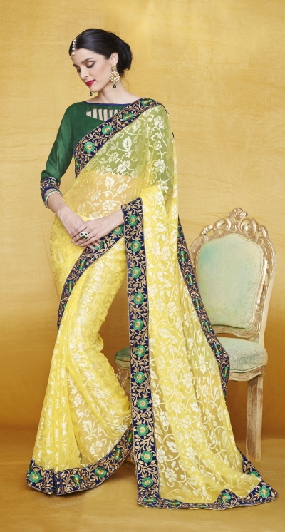 Party-wear-Yellow-5-color-saree