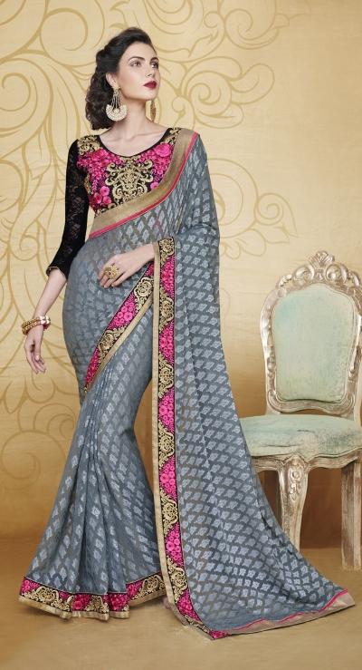 Party-wear-Gray-color-saree