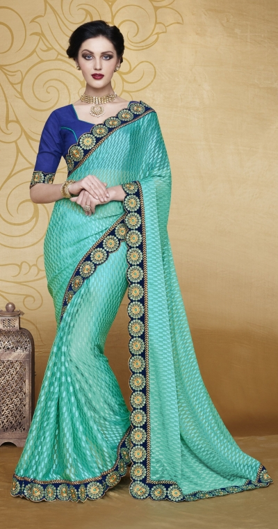Party-wear-Turquoise-2-Blue-color-saree