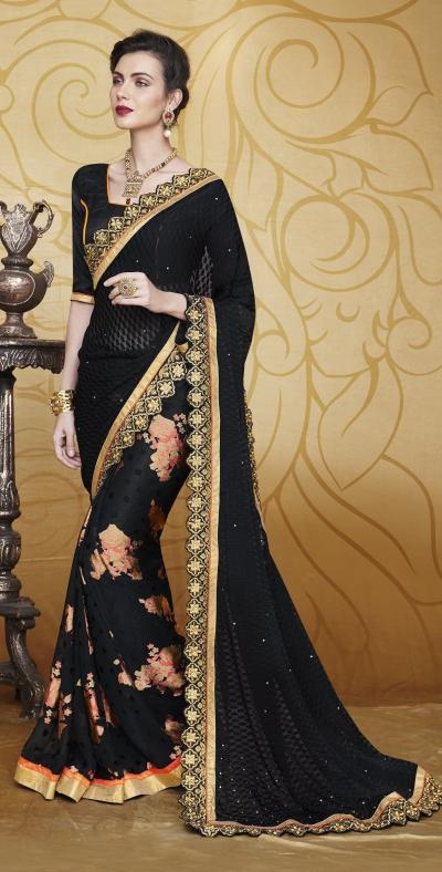 Party-wear-Black-color-saree