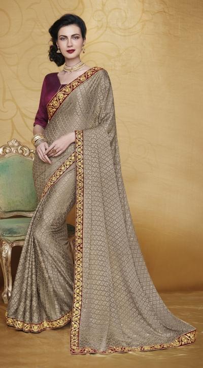 Party-wear-Cedar-Brown-color-saree
