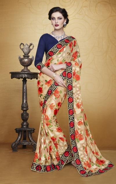 Party-wear-Beige-Orange-color-saree