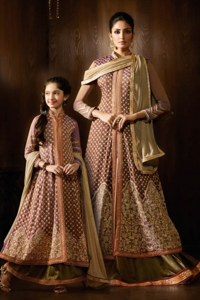 Beige color shimmer georgette party wear lehenga kameez