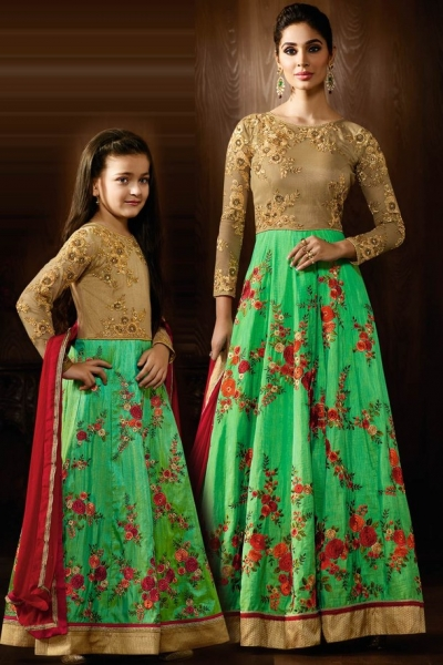 Pastel green color two tone silk party wear lehenga kameez