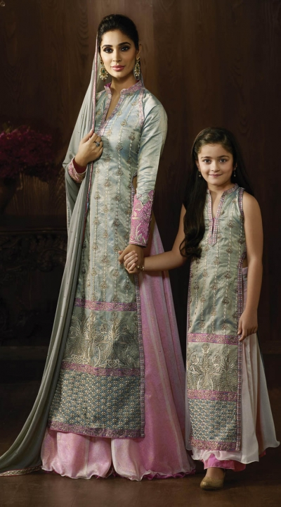 Grey and pink color raw silk party wear lehenga kameez