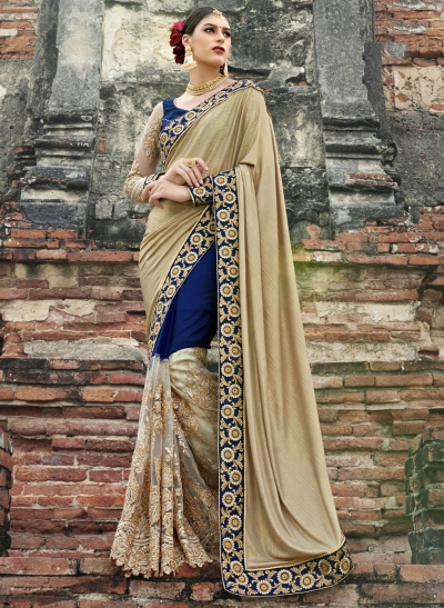 Beige and blue fancy wedding wear saree