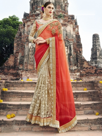 Orange and beige color wedding wear saree